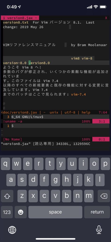 vim + vps + Terminus on iPhone